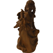 Vintage German Carved Wood Christmas Angel with Candle
