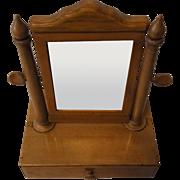 Antique German Wood Biedermeier Travel Vanity Shaving Mirror 1857 with History