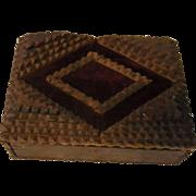 Small Antique German Wood Tramp Art Box Trinket Box