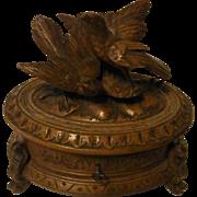 Antique Swiss BRIENZ Hand Black Forest Carved Oak Wood Jewelry Box Birds