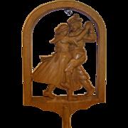 Vintage German Carved Wood Wall Candle Holder Dancing Bavaria Couple