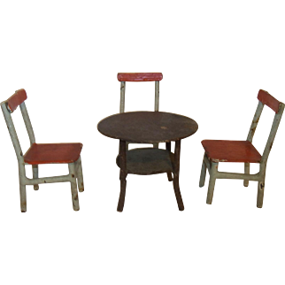 1920´s Industrial Design Dollhouse Iron Furniture 3 Chairs with Table