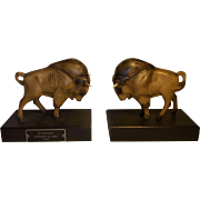Pair Carved Wood Book Ends Bison 1938