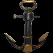 Vintage Brass Anchor Corkscrew Bottle Opener