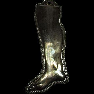 Antique Ex Voto Silvered Lower Leg