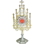Antique German Pewter Small Doll Child Monstrance for House Altar