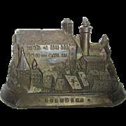 Antique German Metal Souvenir Building Nuremberg Castle
