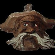 Vintage German Black Forest Carved Wood Wall Ornament Man Head