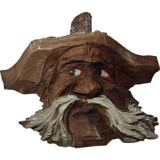 Vintage German Black Forest Carved Wood Wall Ornament Man Head