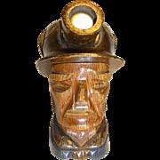 Vintage German Carved Wood Table Lighter Miner