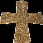 Vintage German Bronze Cross Egino Weinert We humans in the cross with the Holy Spirit