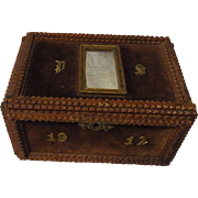 Antique German Tramp Art Box Trinket Box 1912