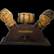 Vintage German Erzgebirge Carved Wood Bar Set Bottle Spout Corkscrew