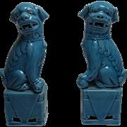 Pair Vintage Blue Ceramic Figure Foo Lion Fu Dog Statue