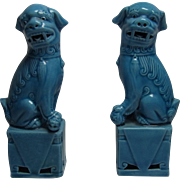 Pair Vintage Blue Ceramic Figure Foo Lion Fu Dog Statue