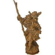 Vintage Italy Carved Wood Saint Christopher with Jesus Child