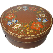 Antique German Bentwood Pantry Box Hand Painted Flower