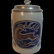 Vintage German Beer Stein Deer 0,5 L. Design  Ludwig Hohlwein