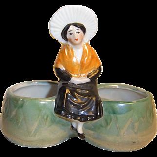 Vintage Bisque Porcelain Salt and Pepper Dispenser Sitting Women ca. 1900