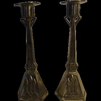 Pair German Art Nouveau Candle Holder Silver Plate