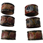 6 Vintage Wood Napkin Ring Hand Painted