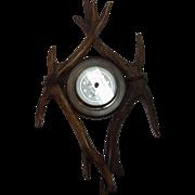 Antique German Black Forest Antler Frame Barometer