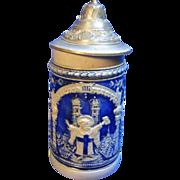 Antique German Souvenir Lidded Beer Stein Munich Child