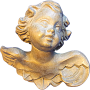 Vintage German Wood Carved Cherub Angel Wall Ornament - Red Tag Sale Item