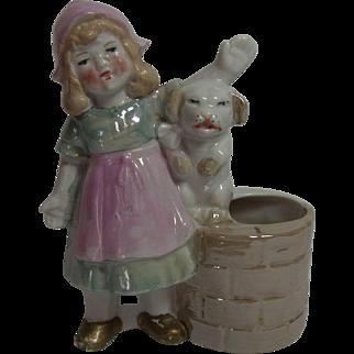 Antique German Porcelain Figure Girl with Dog