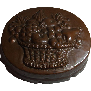 Antique German Copper Cake Mold with Fruit Basket Motif