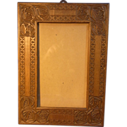 Antique Wood Carved Folk Art Picture Frame 1900