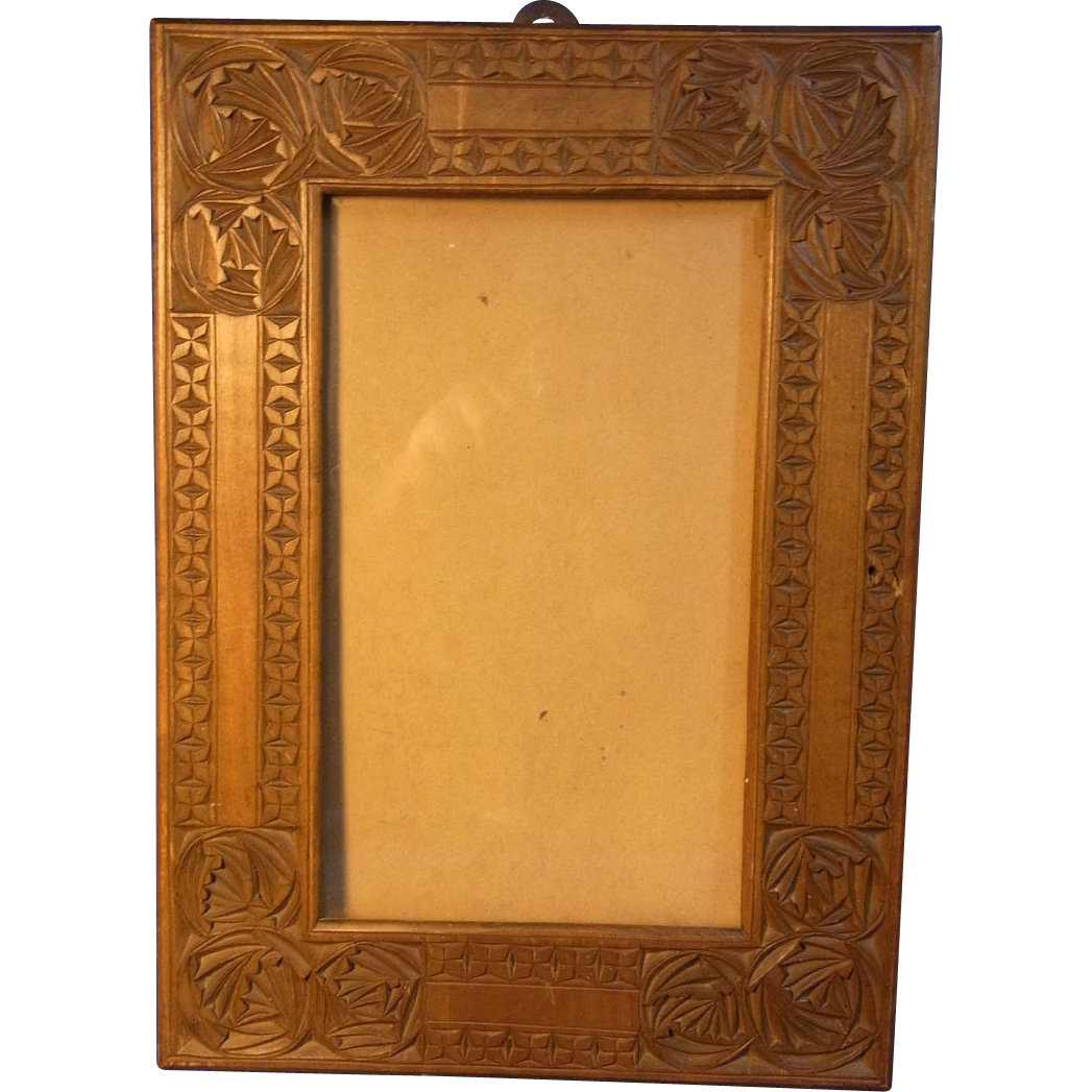 Antique Wood Carved Folk Art Picture Frame 1900 From Eddys
