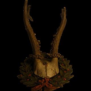 Antique German Deer Antler with Painted Brass Leaves Wreath on Wood Base