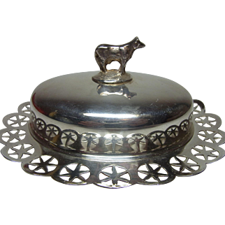 Vintage English Silverplate Butter Dish with Cow