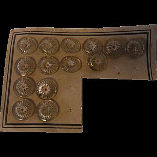 14 Vintage German Glass Button on Display