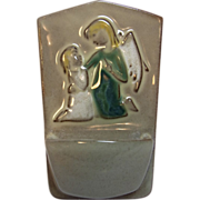 Mid Century Art Pottery Holy Water Font Guardian Angel with Child