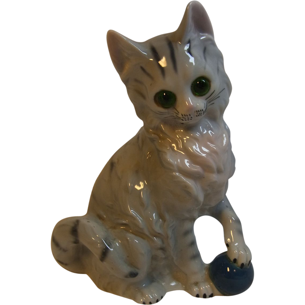 Vintage German Porcelain Night Light Perfume Lamp Cat with Ball Red SOLD on Ruby Lane