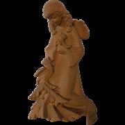 Vintage German Carved Wood Wall Ornament Cherub Angel with Bird