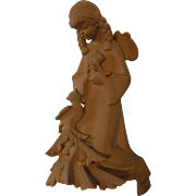 Vintage German Carved Wood Wall Ornament Cherub Angel with Bird