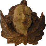 Antique German Carved Wood Wall Ornament Cherub Angel 1850´s