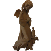 Vintage German Carved Wood Wall Ornament Cherub Angel with Candle