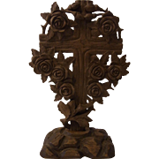 Antique German Folk Art Carved Wood Cross Roses