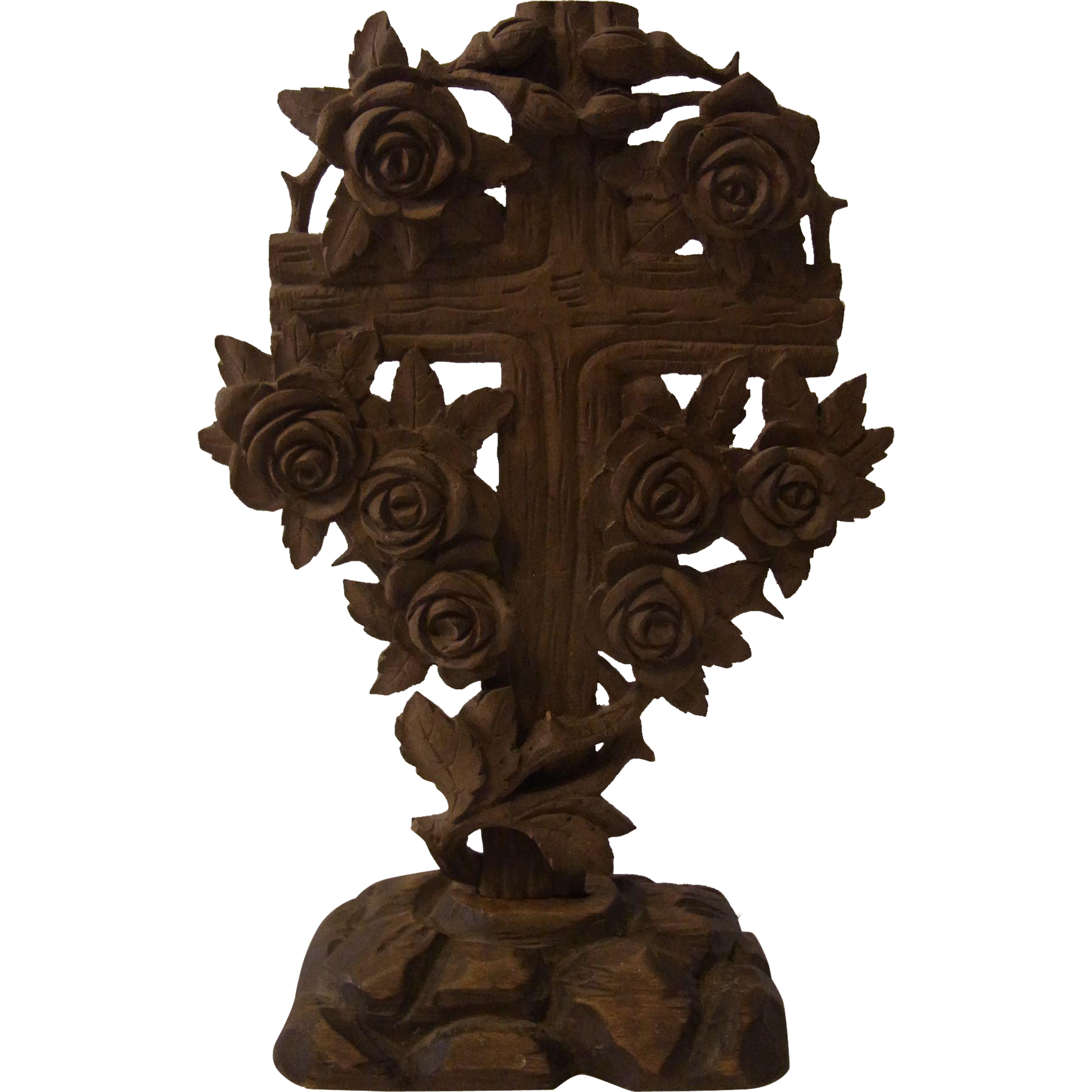Antique german folk art carved wood cross roses from eddys