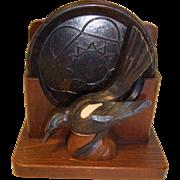 Vintage German Carved Wood Raven Bird Magpie Coaster Holder