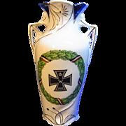 Vintage German Patriotic Souvenir Vase with Iron Cross WW I