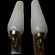 Pair Mid Century 60s Sconces Teak and White Strips Glass