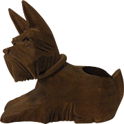 Vintage German Carved Wood Dog Toothpick Holder
