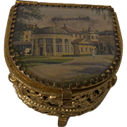 Vintage Czech Ormolu Souvenir Trinket Box Franzensbad