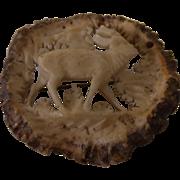 Vintage German Carved Deer Antler Brooch Pin Deer
