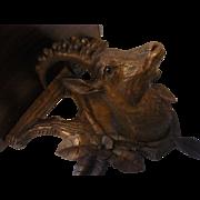 Antique Swiss BRIENZ Hand Carved Wood Black Forest Wall Shelf Ibex